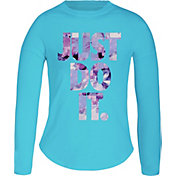 Nike Little Girls' Flower Jams Just Do It Graphic Long Sleeve Shirt