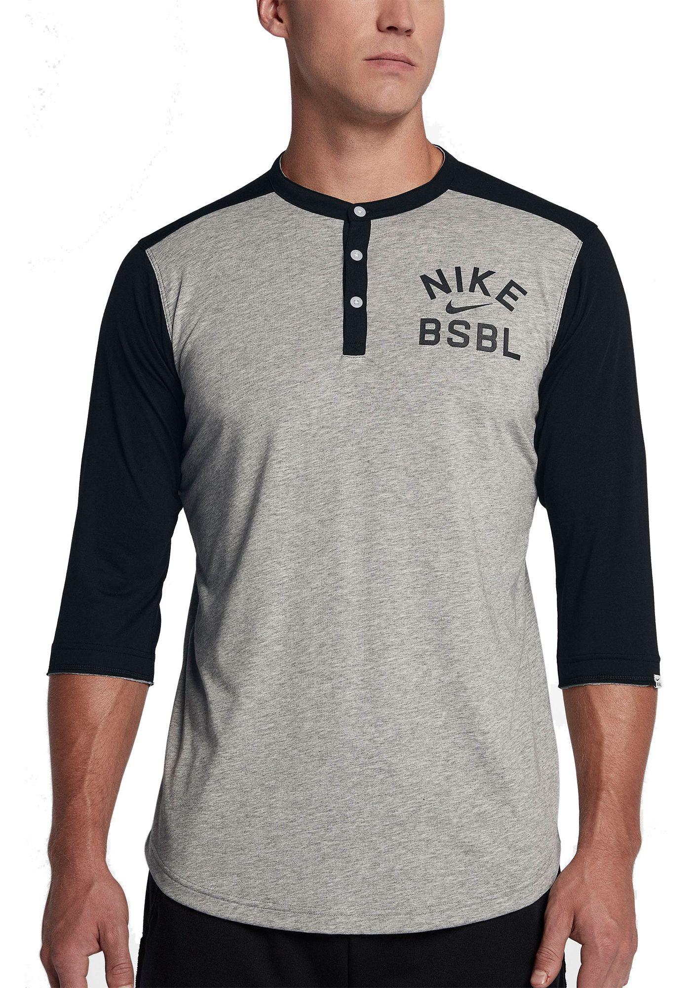Nike Men's Flux ¾ Sleeve Henley Baseball Top