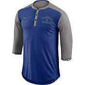 Nike Men's Los Angeles Dodgers Dri-FIT Three-Quarter Sleeve Henley Shirt