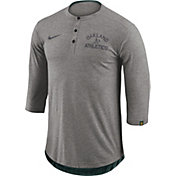 Nike Men's Oakland Athletics Dri-FIT Three-Quarter Sleeve Henley Shirt