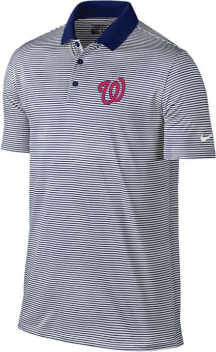 Nike Men's Washington Nationals Dri-FIT Navy Victory Mini Stripe Polo