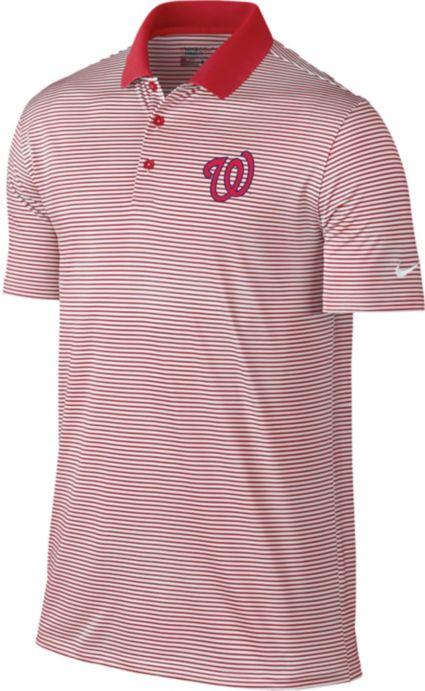 Nike Men's Washington Nationals Dri-FIT Red Victory Mini Stripe Polo