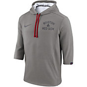 Nike Men's Boston Red Sox Three-Quarter Sleeve Hooded Fleece Pullover