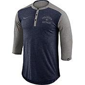 Nike Men's Houston Astros Dri-FIT Three-Quarter Sleeve Henley Shirt