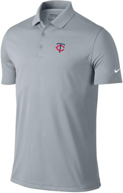 Nike Men's Minnesota Twins Dri-FIT Grey Victory Solid Polo