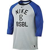Nike Men's 3/4 Length Raglan Sleeve Embroidered Baseball Shirt