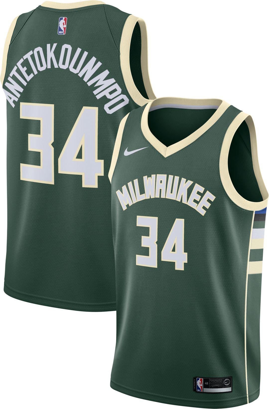 new concept fd5eb 51d2c Nike Men's Milwaukee Bucks Giannis Antetokounmpo #34 Green Dri-FIT Swingman  Jersey