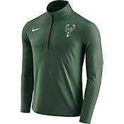 Nike Men's Milwaukee Bucks Dri-FIT Green Element Half-Zip Pullover