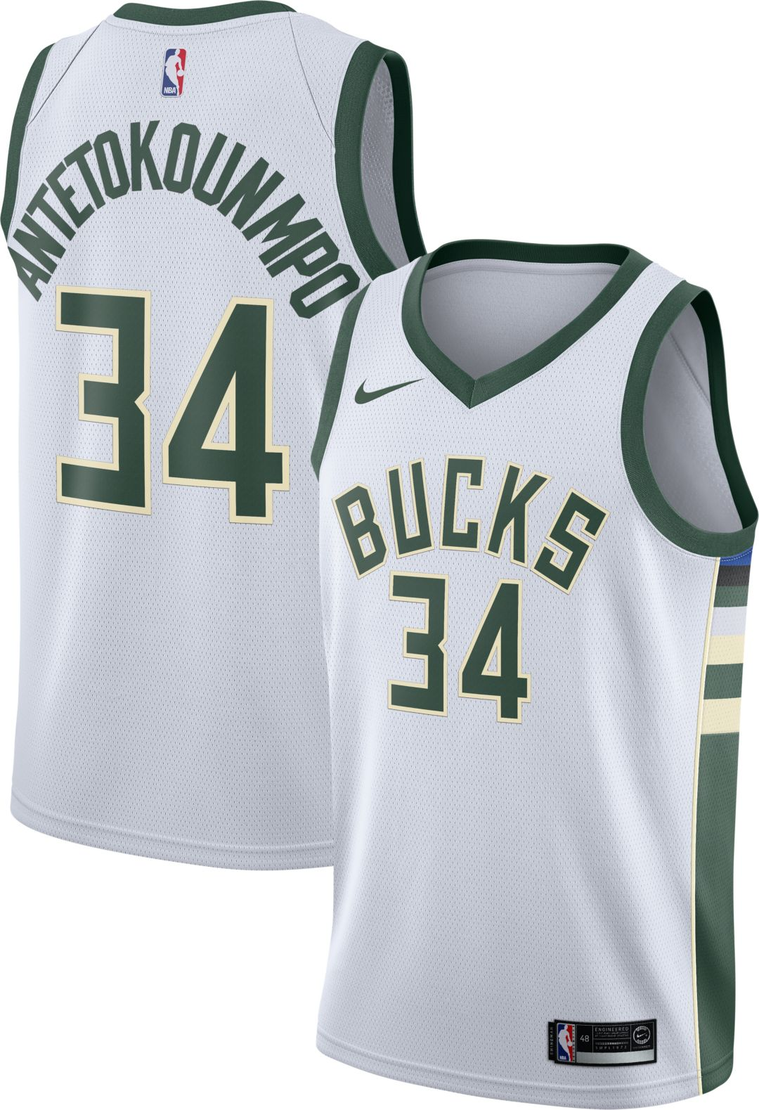 big sale 2242d 069ae Nike Men's Milwaukee Bucks Giannis Antetokounmpo #34 White Dri-FIT Swingman  Jersey