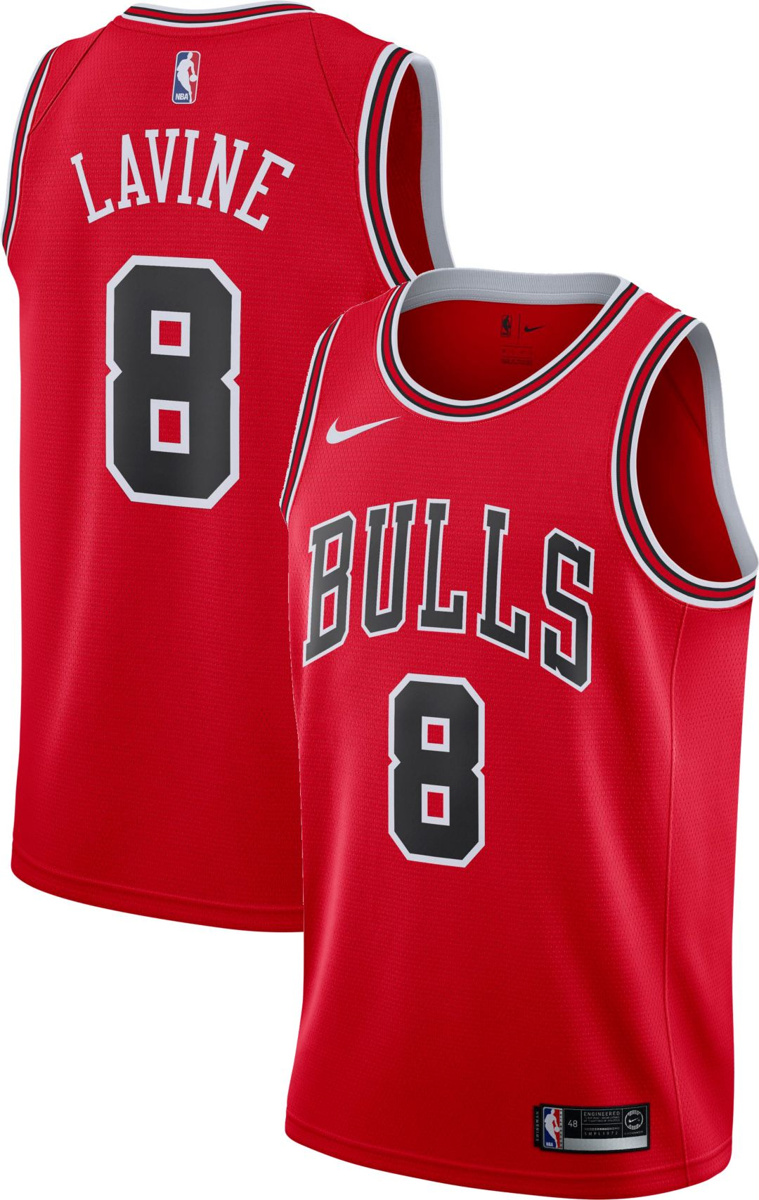 best service e14f3 a4958 Nike Men's Chicago Bulls Zack Lavine #8 Red Dri-FIT Swingman Jersey