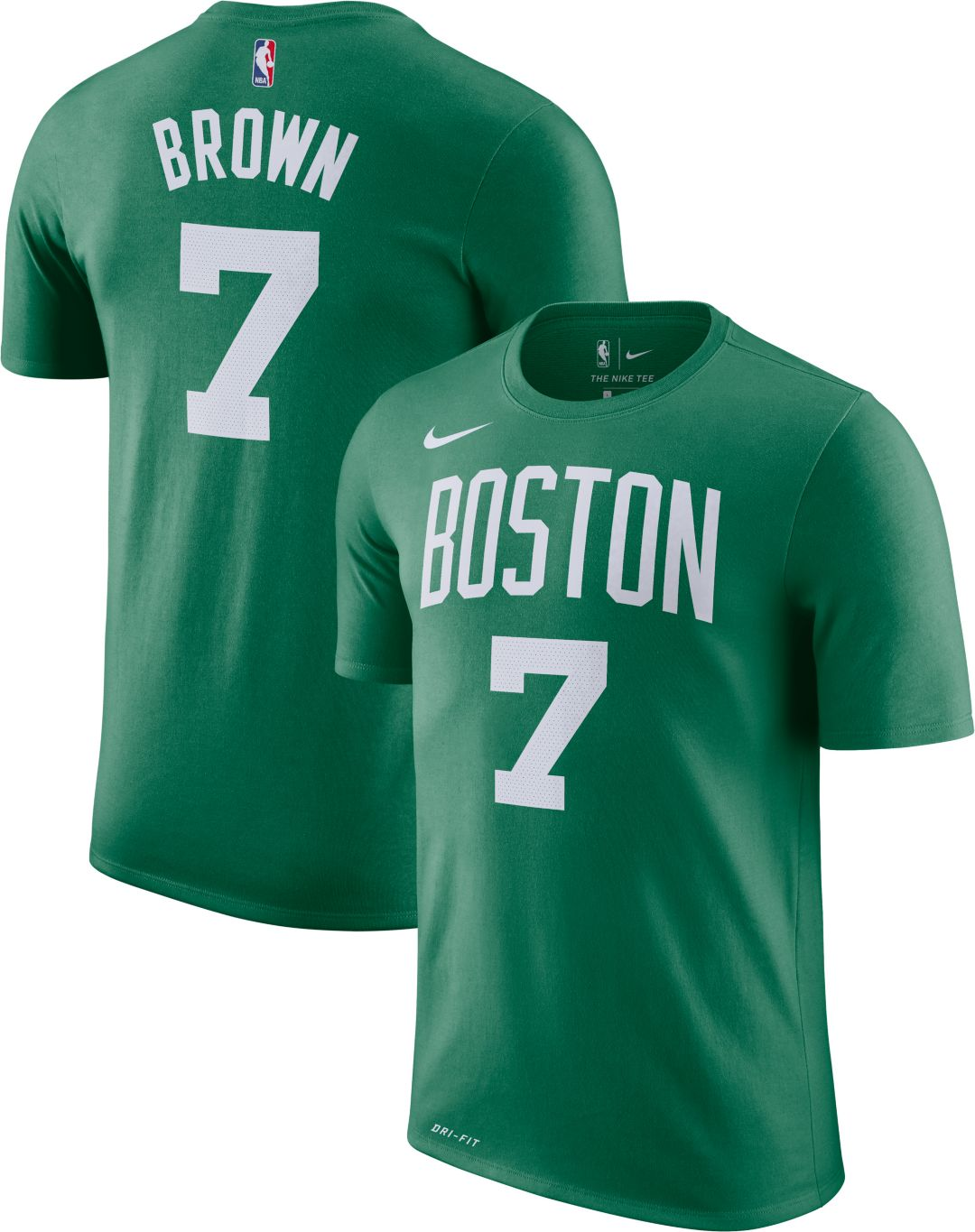 check out 72201 adce9 Nike Men's Boston Celtics Jaylen Brown #7 Dri-FIT Kelly Green T-Shirt