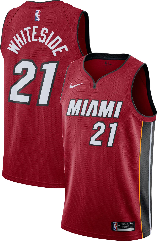 Nike Men's Miami Heat Hassan Whiteside #21 Red Dri-FIT Swingman Jersey