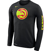 Nike Men's Atlanta Hawks Dri-FIT Black Logo Long Sleeve Shirt