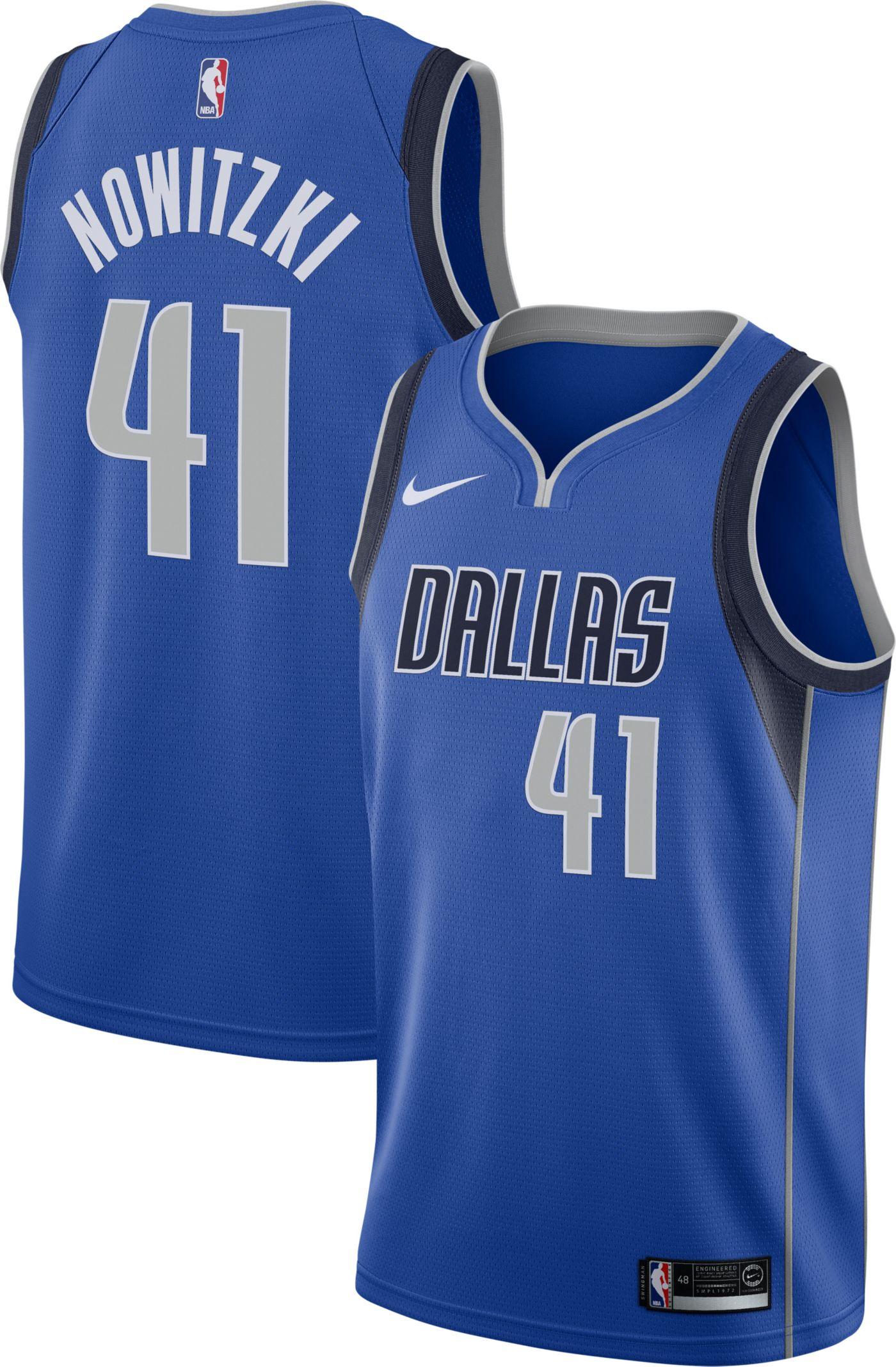 Nike Men's Dallas Mavericks Dirk Nowitzki #41 Royal Dri-FIT Swingman Jersey