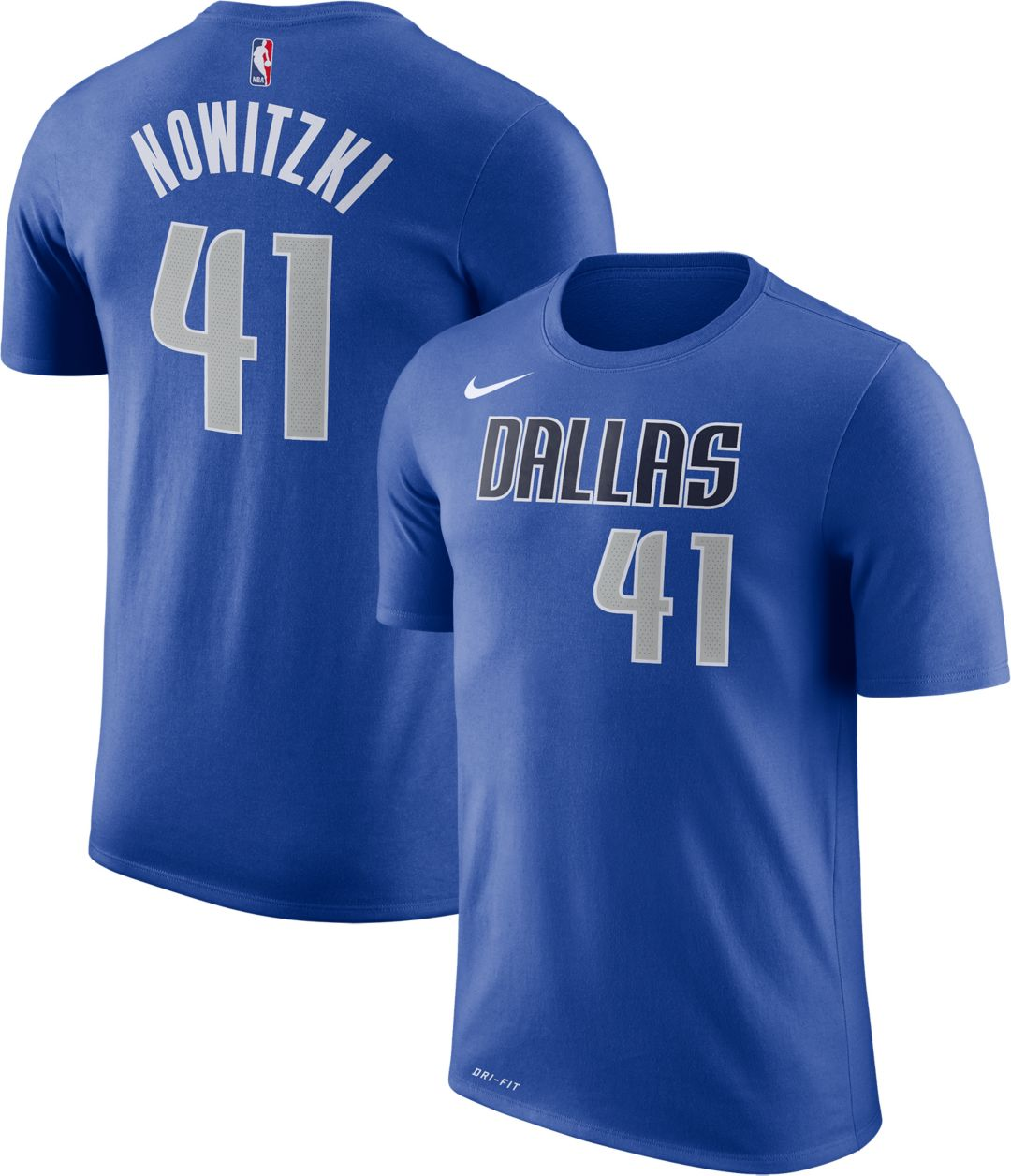 new arrival 9c420 7f6b2 Nike Men's Dallas Mavericks Dirk Nowitzki #41 Dri-FIT Royal T-Shirt