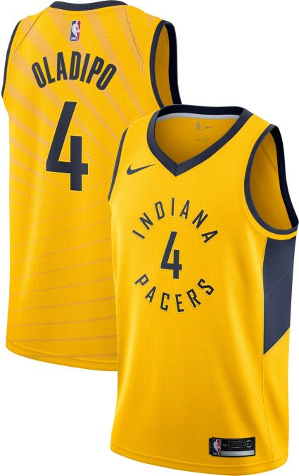 3b8f636b2 Nike Men s Indiana Pacers Victor Oladipo  4 Gold Dri-FIT Swingman Jersey.  noImageFound