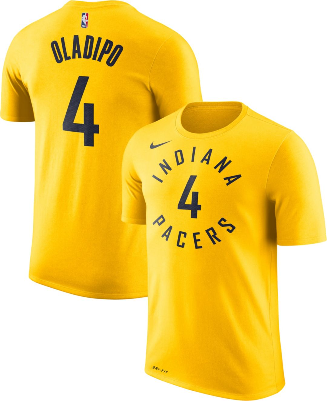 on sale 3dd4d af312 Nike Men's Indiana Pacers Victor Oladipo #4 Dri-FIT Gold T-Shirt