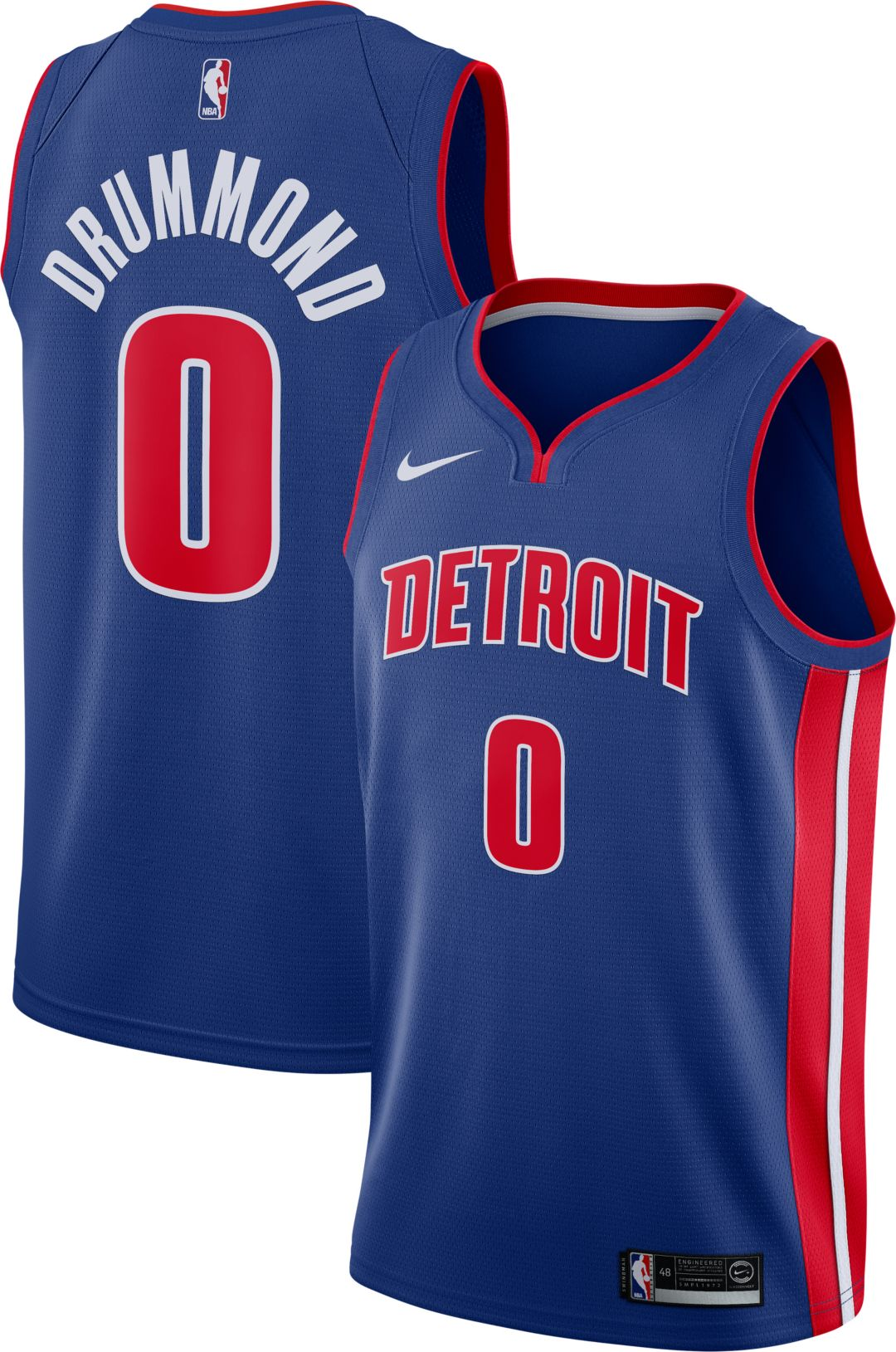 pretty nice c52ed a5ac2 Nike Men's Detroit Pistons Andre Drummond #0 Royal Dri-FIT Swingman Jersey