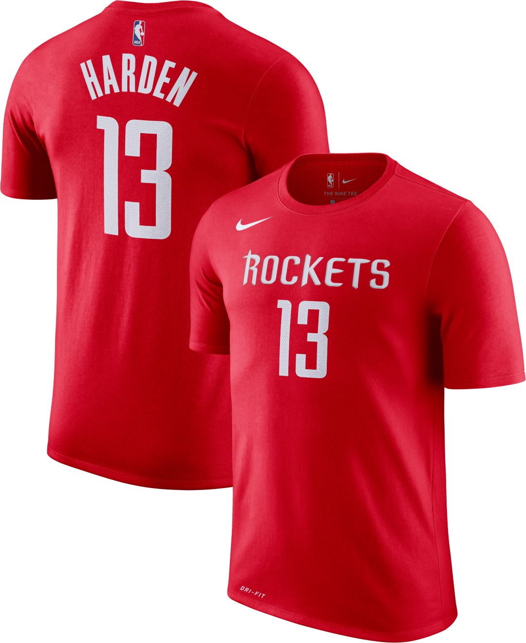 new styles 4531b 905fc Nike Men's Houston Rockets James Harden #13 Dri-FIT Red T-Shirt