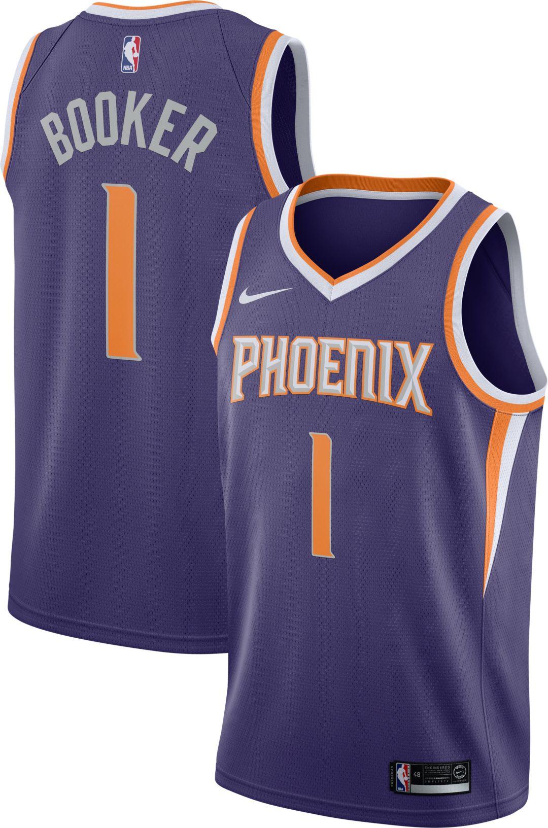new arrival ccaf7 cf6f6 Nike Men's Phoenix Suns Devin Booker #1 Purple Dri-FIT Swingman Jersey