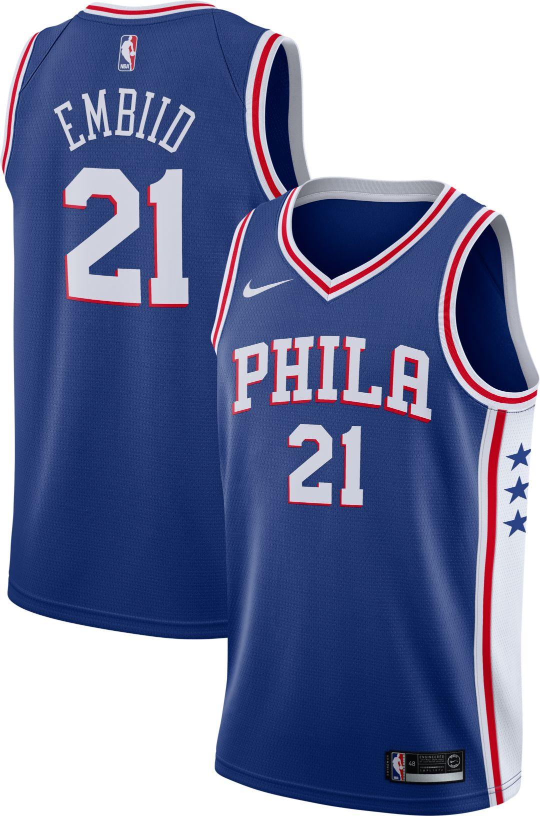 meet d0609 7c5a0 Nike Men's Philadelphia 76ers Joel Embiid #21 Royal Dri-FIT Swingman Jersey