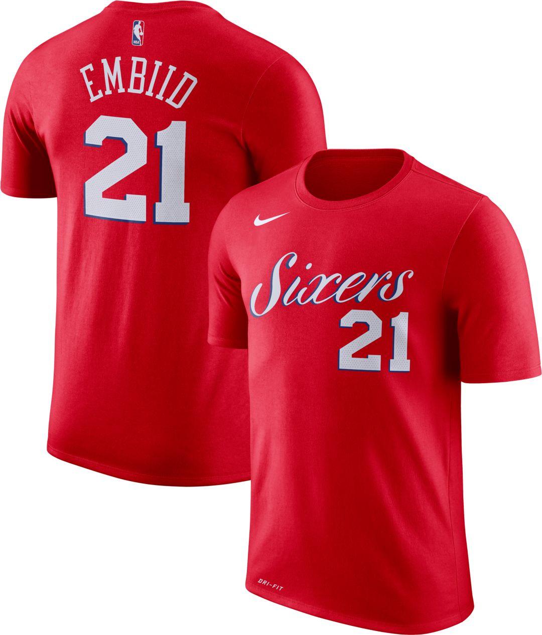 hot sale online b3218 6b9db Nike Men's Philadelphia 76ers Joel Embiid #21 Dri-FIT Red T-Shirt
