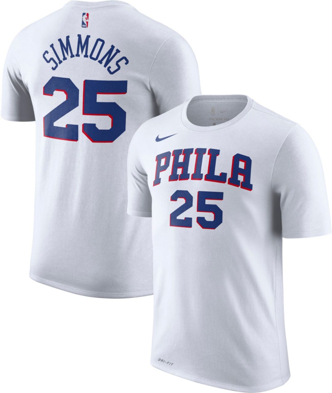 purchase cheap f7a57 f44d4 Nike Men's Philadelphia 76ers Ben Simmons #25 Dri-FIT White T-Shirt