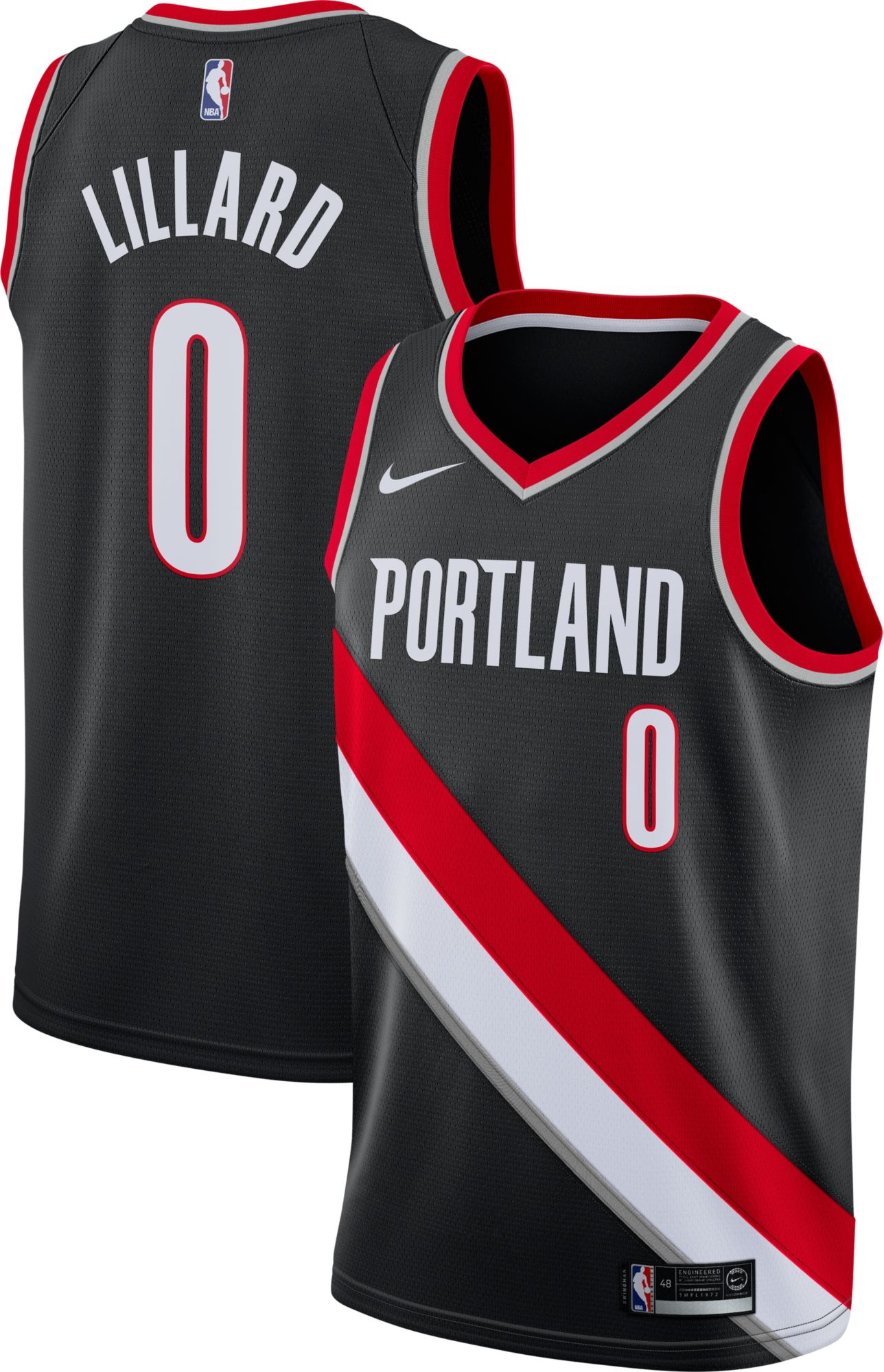 f7df47249286 ... norway nike mens portland trail blazers damian lillard 0 black dri fit swingman  jersey db85d 7556e