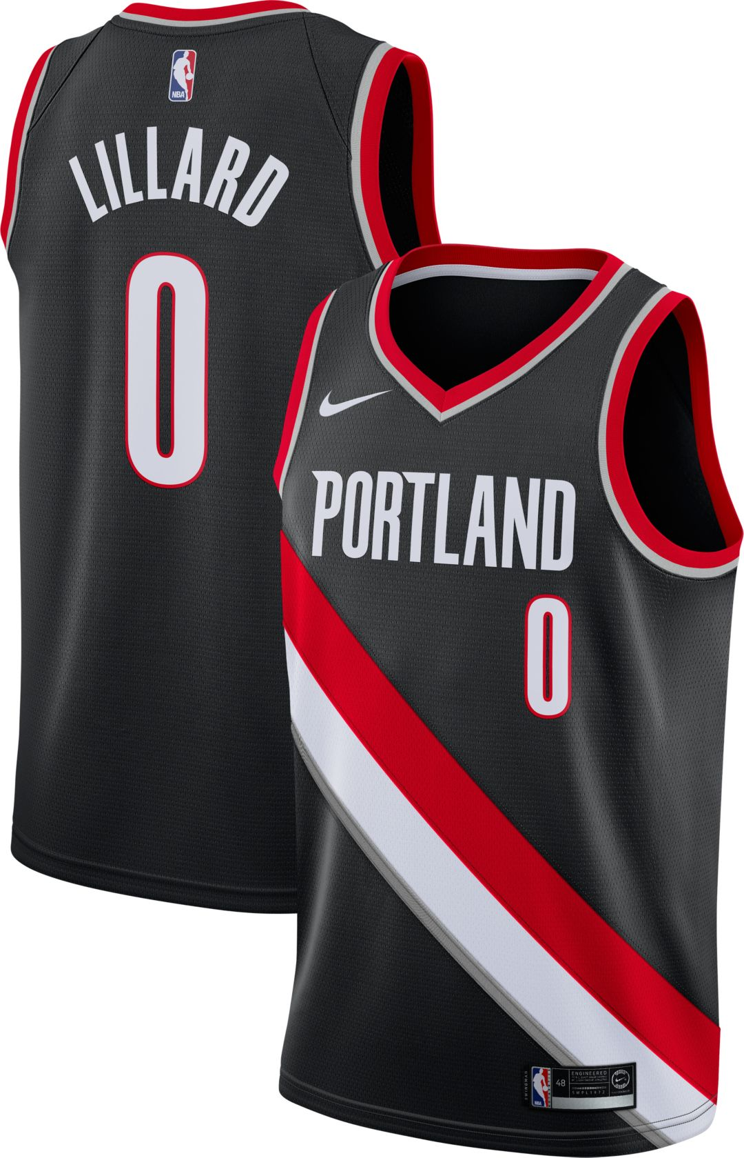 official photos 7dfc4 c0ce3 Nike Men's Portland Trail Blazers Damian Lillard #0 Black Dri-FIT Swingman  Jersey