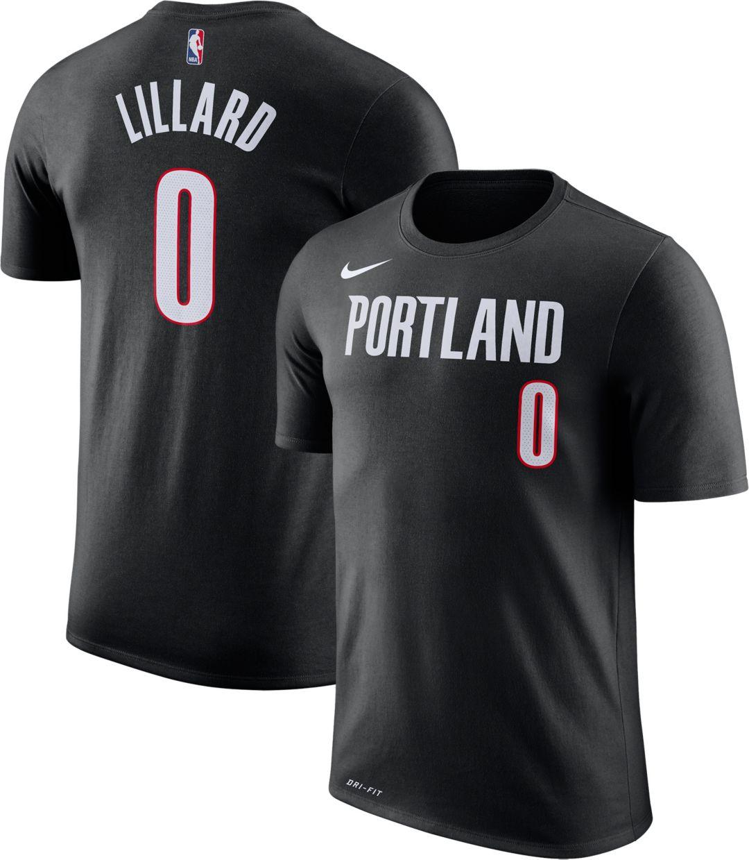 best service 8cf6b 9fff9 Nike Men's Portland Trail Blazers Damian Lillard #0 Dri-FIT Black T-Shirt