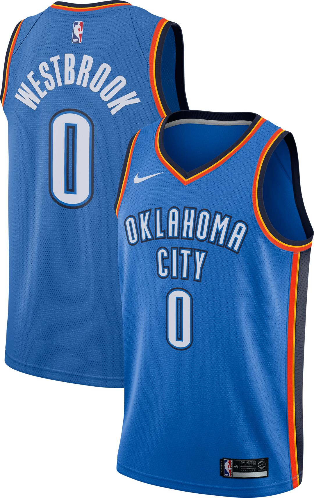 new product 98cb2 8f71a Nike Men's Oklahoma City Thunder Russell Westbrook #0 Blue Dri-FIT Swingman  Jersey