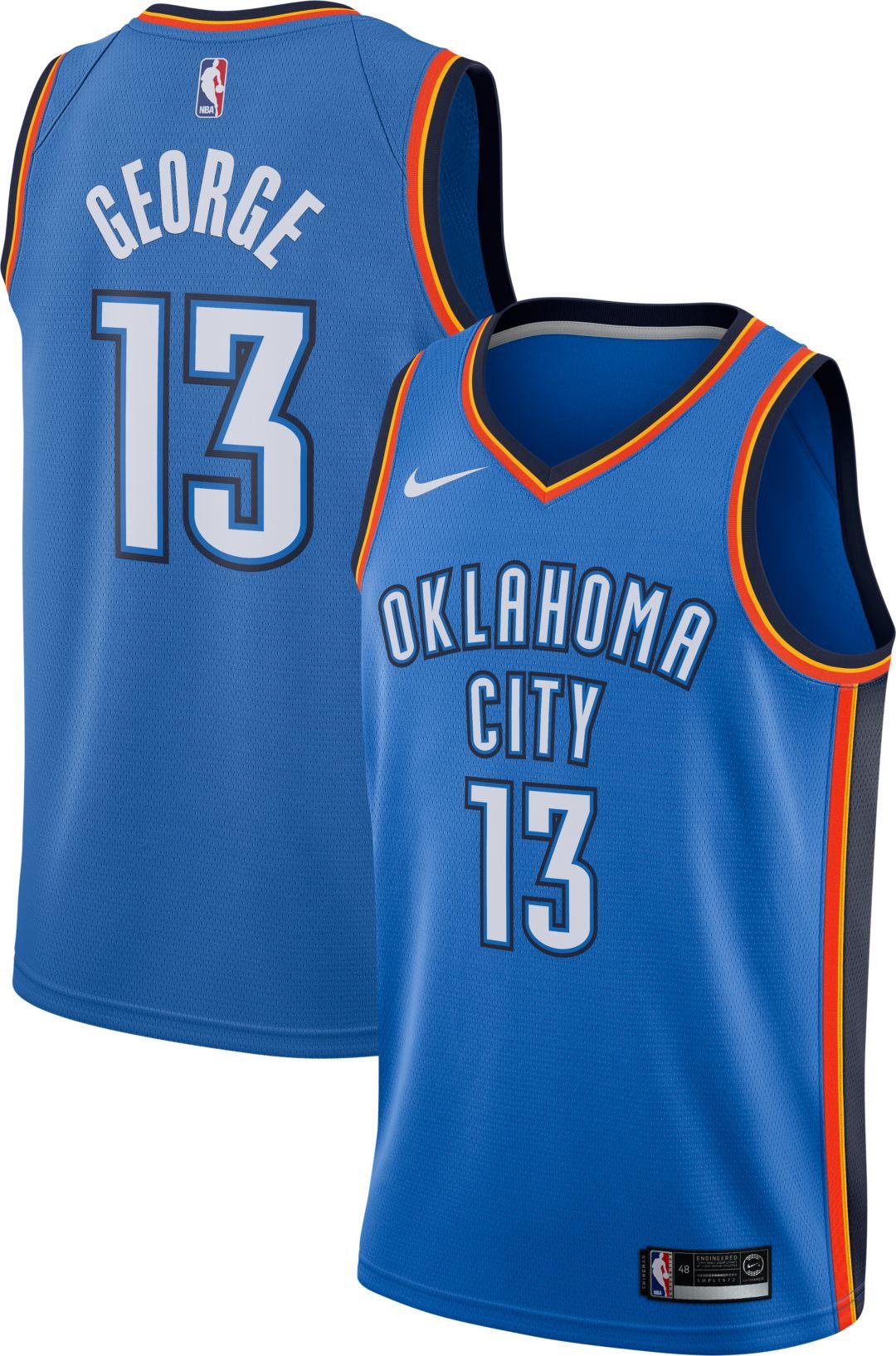 aa58fe7d12b Nike Men's Oklahoma City Thunder Paul George #13 Blue Dri-FIT Swingman  Jersey 1