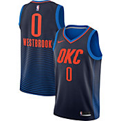 Nike Men's Oklahoma City Thunder Russell Westbrook #0 Navy Statement Dri-FIT Swingman Jersey