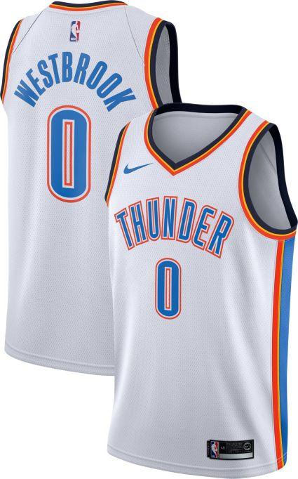 b770b9a23 Nike Men s Oklahoma City Thunder Russell Westbrook  0 White Dri-FIT  Swingman Jersey