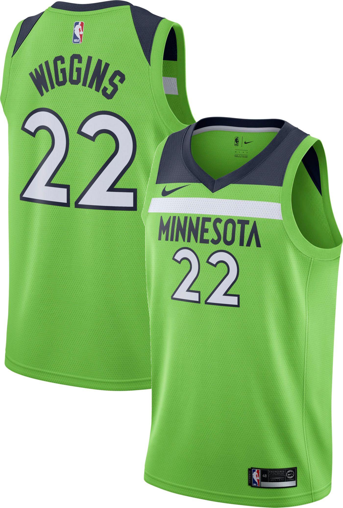 Nike Men's Minnesota Timberwolves Andrew Wiggins #22 Green Dri-FIT Statement Swingman Jersey