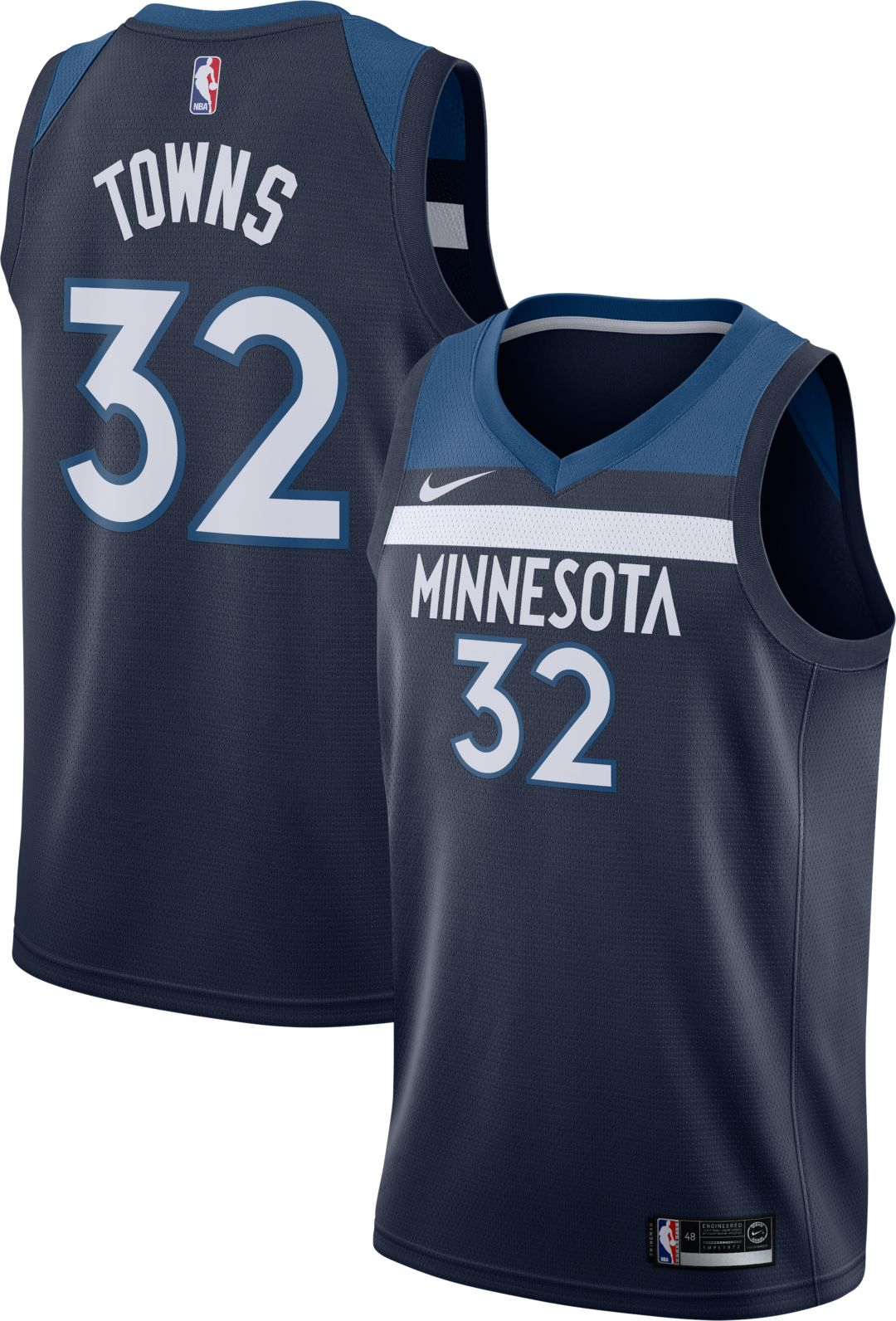 best cheap c84c7 cfb51 Nike Men's Minnesota Timberwolves Karl-Anthony Towns #32 Navy Dri-FIT  Swingman Jersey