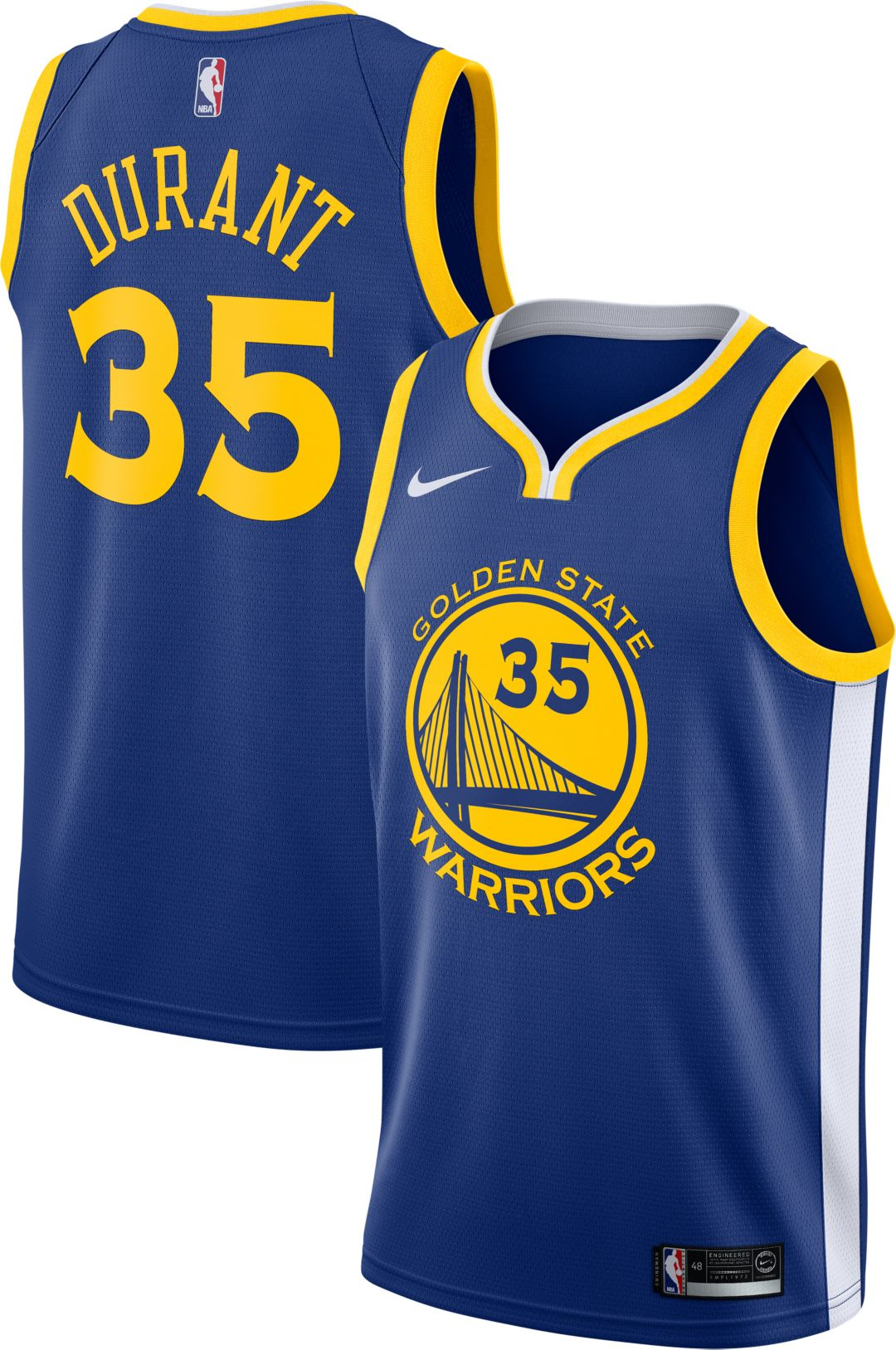 abff446a65f Nike Men's Golden State Warriors Kevin Durant #35 Royal Dri-FIT Swingman  Jersey 1