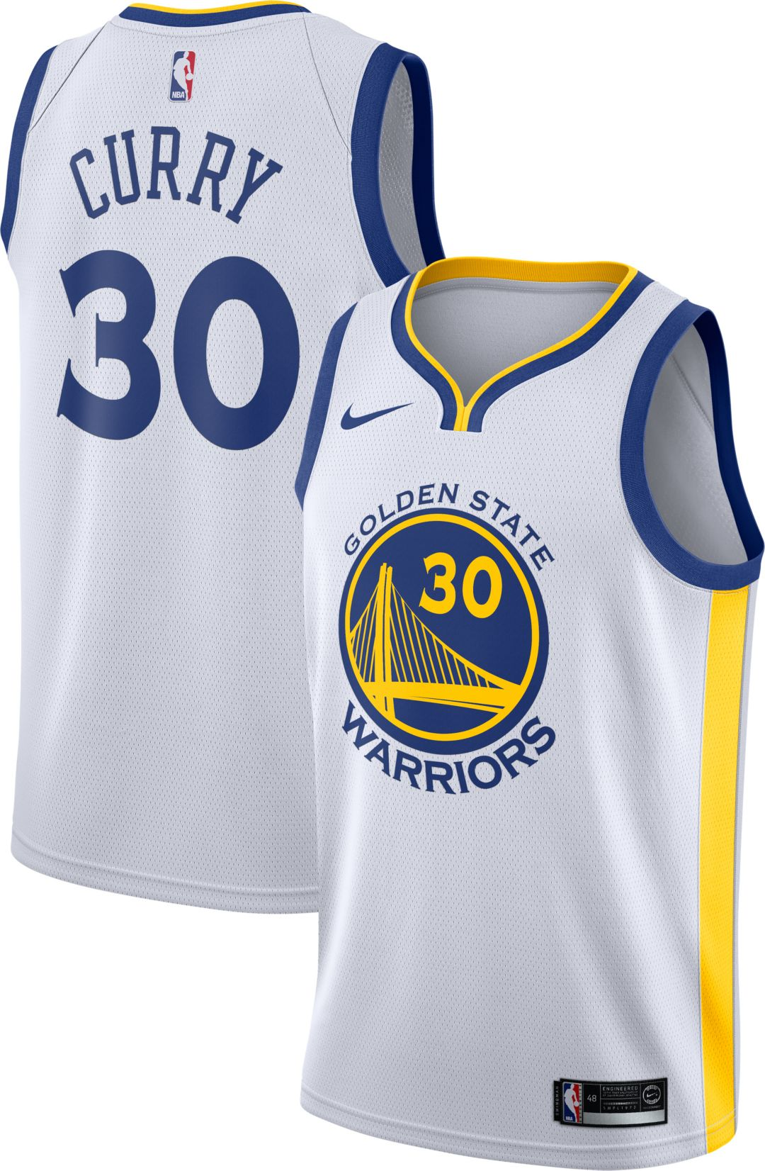 6a3b41e5bf62 Nike Men s Golden State Warriors Stephen Curry  30 White Dri-FIT Swingman  Jersey 1