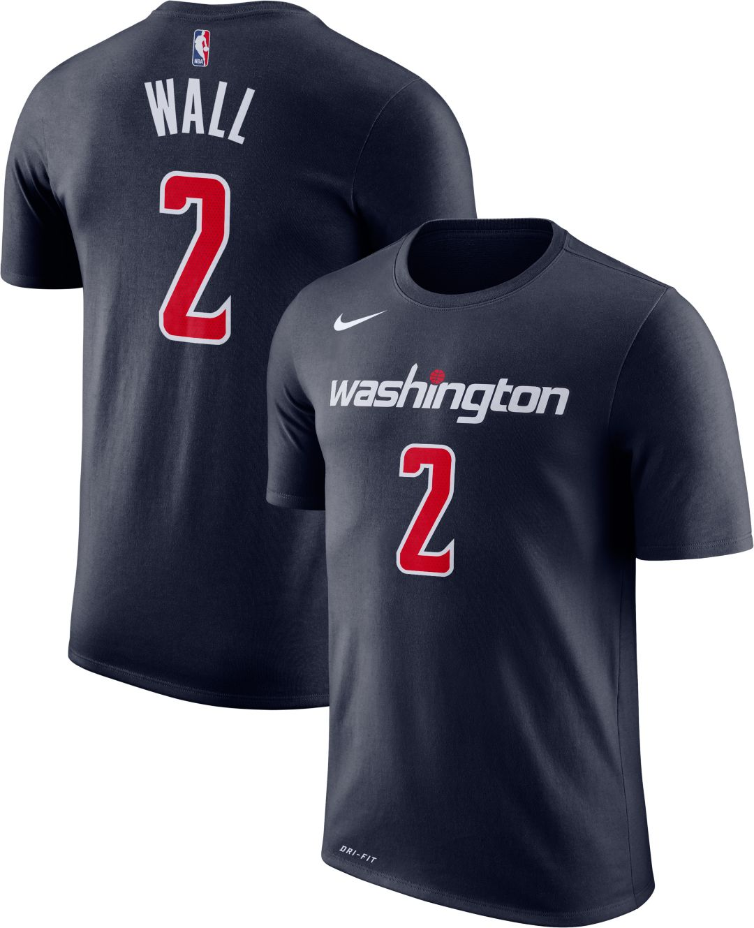 sale retailer 09073 63f0a Nike Men's Washington Wizards John Wall #2 Dri-FIT Navy T-Shirt