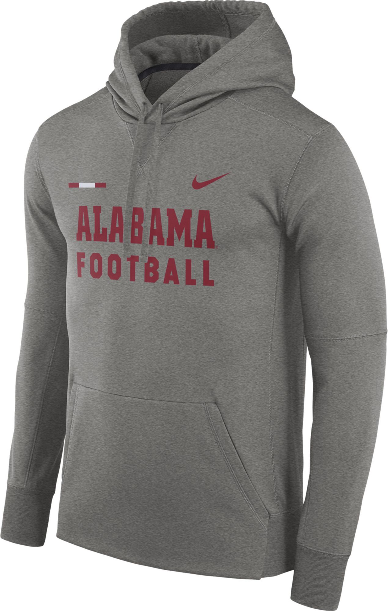 ... official site 8a399 3bc56 Nike Mens Alabama Crimson Tide Grey Football  Sideline Therma-FIT Hoodie ... 0695b94e3