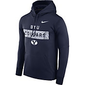 Nike Men's BYU Cougars Blue Therma-FIT Pullover Sideline Hoodie