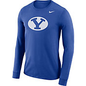 Nike Men's BYU Cougars Blue Dri-FIT Logo Long Sleeve Shirt
