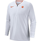 Nike Men's Clemson Tigers Coach Half-Zip Football Sideline White Jacket