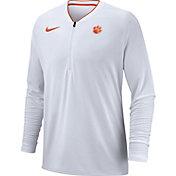 Nike Men's Clemson Tigers Coach Half-Zip Football Sideline White Jacket