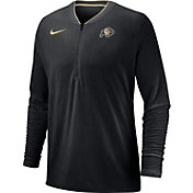 Nike Men's Colorado Buffaloes Coach Half-Zip Football Sideline Black Jacket