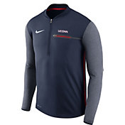 Nike Men's UConn Huskies Blue Coach Half-Zip Football Sideline Jacket