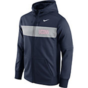 Nike Men's UConn Huskies Blue Therma-FIT Full-Zip Sideline Hoodie
