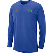 Jordan Men's Florida Gators Blue Modern Football Sideline Crew Long Sleeve Shirt