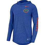 Nike Men's Florida Gators Blue Marled Long Sleeve Hooded Sideline T-Shirt