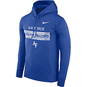 Nike Men's Air Force Falcons Blue Therma-FIT Pullover Sideline Hoodie